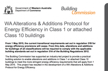 New WA Protocol for Energy Efficiency for Alterations and Additions